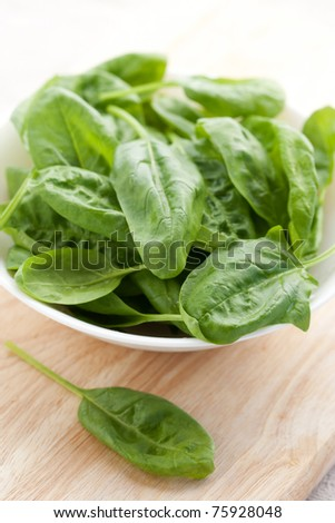 Fresh spinach in a bowl on wooden background