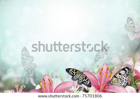 Fresh spring background with flowers and butterflies - stock photo