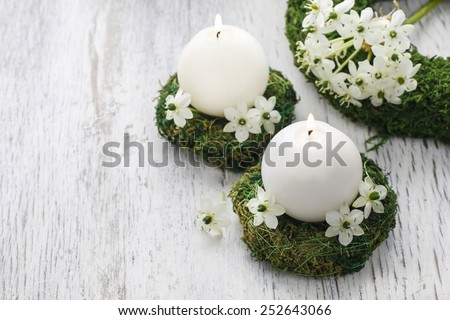 Fresh spring decorations for the First Communion, or First Holy Communion, a Catholic Church ceremony. Symbol of innocence. Copy space - stock photo
