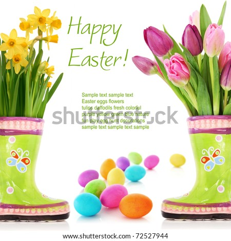 Fresh spring flowers and Easter eggs isolated on white - stock photo
