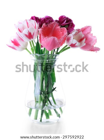 Fresh spring flowers isolated on white