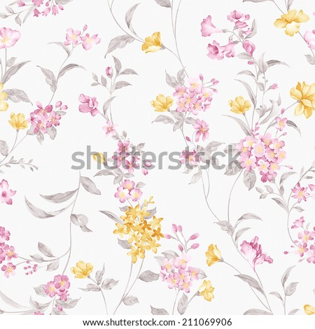 Fresh spring flowers seamless pattern - For easy making seamless pattern use it for filling any contours - stock photo
