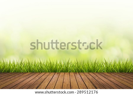 Fresh spring grass with green nature blurred background and wood floor - stock photo