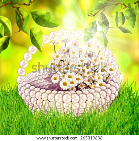 Fresh spring green grass and leaves with flower basket in sunlight. Beauty natural background,selective focus - stock photo