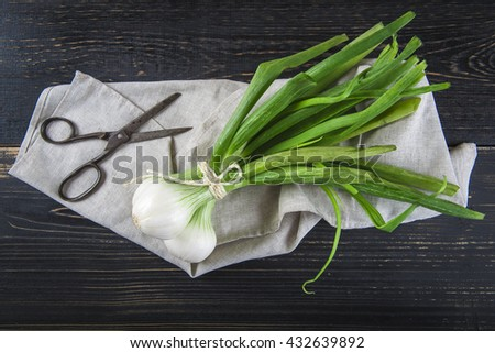 Fresh spring onions and old scissors on a black wooden background - stock photo