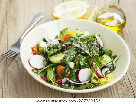 Fresh Spring Vegetable Healthy Salad with Baby Spinach,Rucola,Cucumber,Onion, Carrot and Chili Flakes - stock photo
