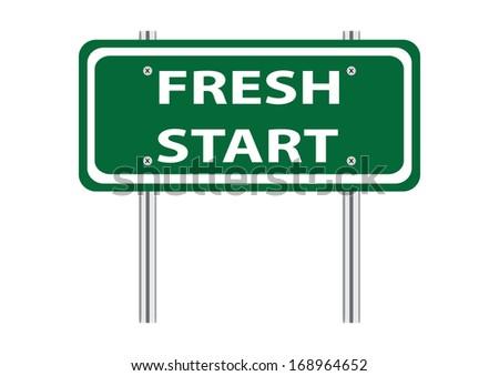 Fresh Start Green Road Sign - stock photo