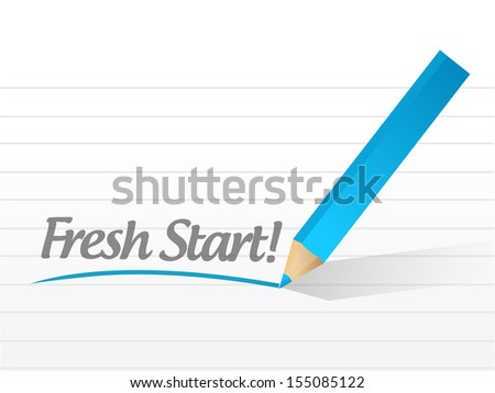 fresh start written on a white piece of paper - stock photo