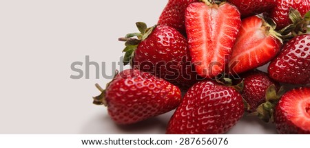 Fresh strawberries closeup, juicy, red ripe , berry - stock photo
