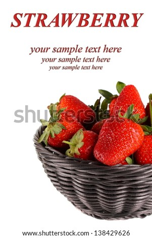 Fresh strawberries in a basket (with your simple text)