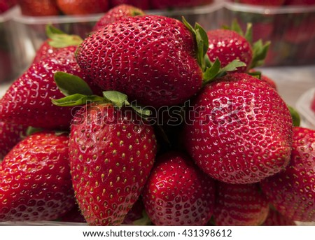 Fresh strawberries in the market - stock photo