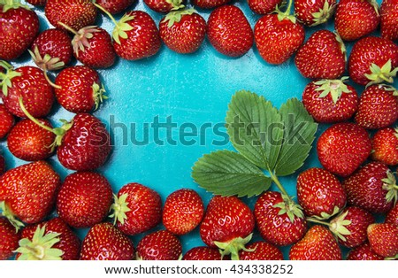 fresh strawberries on a bright background. Food Frame Background with space for advertising text. soft selective focus Photo