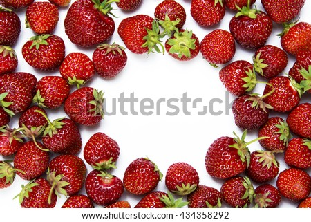 fresh strawberries on a white background. Food Frame Background with space for Romantic date, invitation, sweet wish conceptadvertising text. soft selective focus Photo