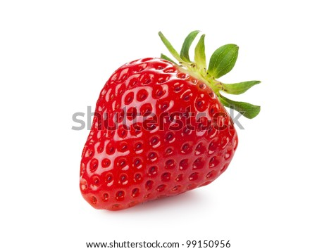 Fresh strawberries were placed on a white background - stock photo