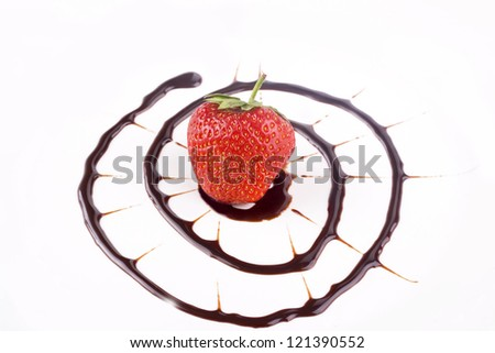fresh strawberries with chocolate sauce
