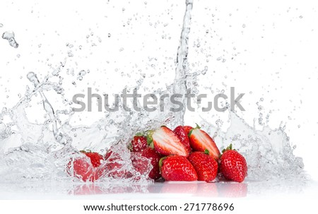 Fresh strawberries with water splash isolated on white - stock photo
