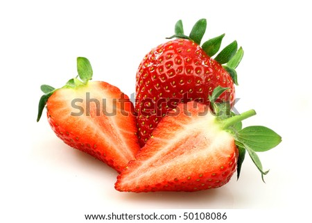 fresh strawberry and two halves on a white background - stock photo