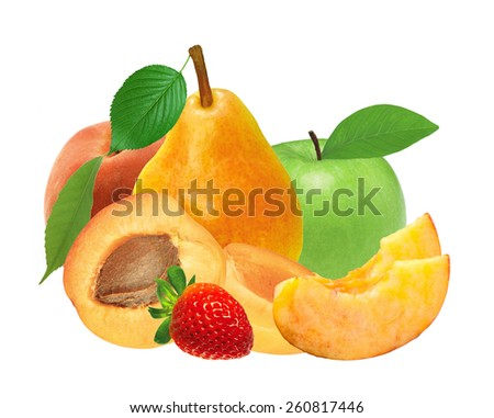fresh strawberry, apricot, peach, apple and pear isolated on white - stock photo
