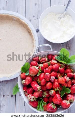Fresh Strawberry Cake - strawberry mascarpone tart - stock photo