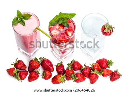 fresh strawberry cocktail and berries closeup on white background