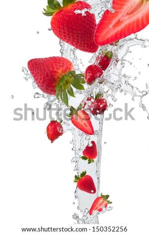 fresh strawberry in water splash  - stock photo