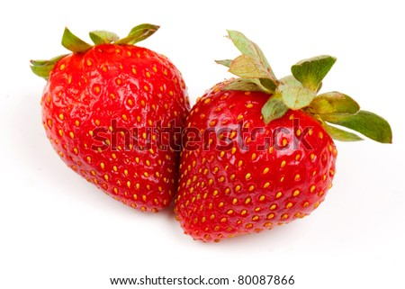 Fresh strawberry on the white background - stock photo