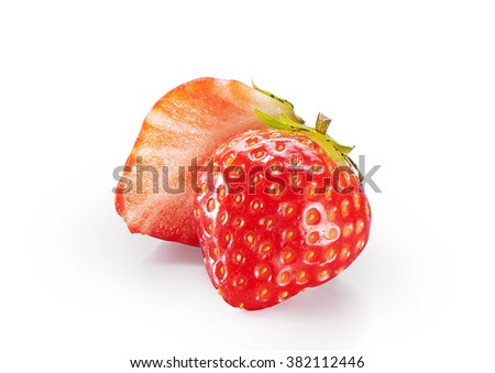 fresh strawberry with green leaves isolated on white background