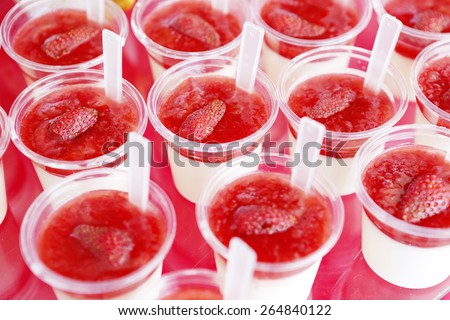 Fresh strawberry yoghurt - stock photo