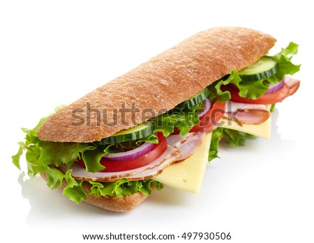 Fresh submarine sandwich with ham, cheese, tomatoes, cucumbers, lettuce and onions isolated on white background