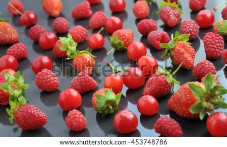 Fresh summer berries mix, selective focus, healthy lifestyle or detox diet food concept