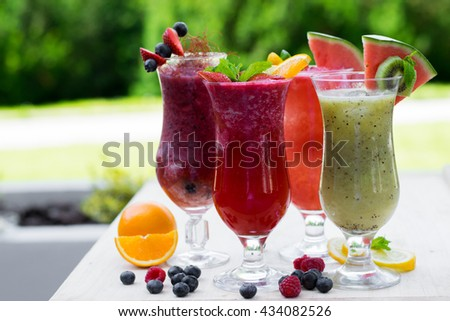 Fresh summer smoothie drinks - stock photo