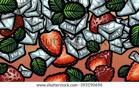 Fresh summer strawberry mojito - stock photo