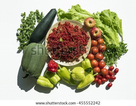 Fresh summer vegetable and fruit harvest from garden. Top view on multiple kinds of vegetables on white background. - stock photo