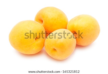 Fresh sweet apricots isolated on white background