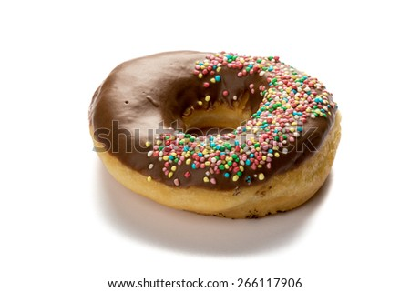 fresh sweet baked color doughnut dessert on white table - stock photo