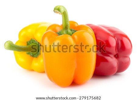 Fresh sweet colorful pepper isolated on white background closeup