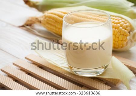 fresh sweet corn juice (corn milk) - stock photo