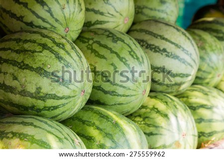 Fresh sweet green watermelons background - stock photo