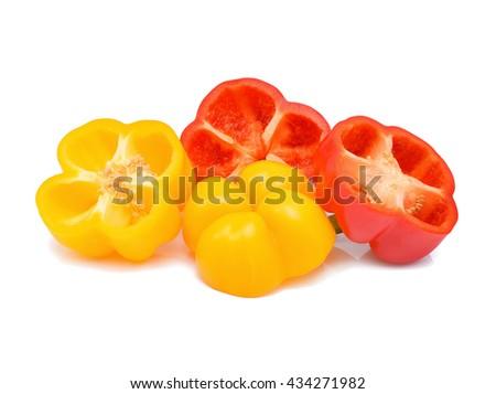 Fresh sweet pepper isolated on white background - stock photo