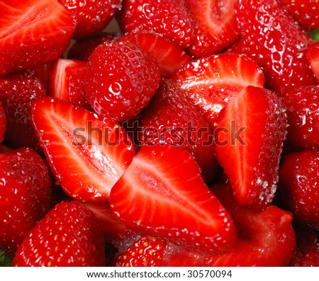 fresh sweet strawberries  with sugar. fruit salad - stock photo