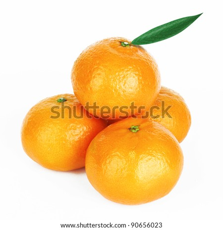 Fresh tangerine with leaves isolated on white