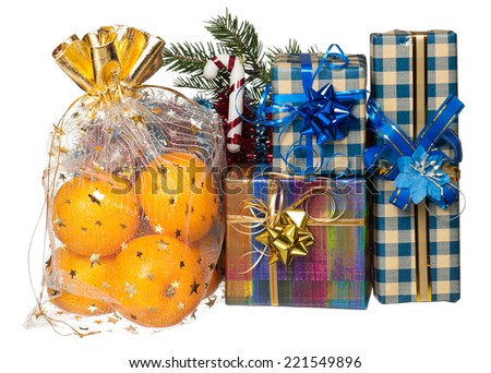 Fresh tangerines with New Year's gifts isolated on white background cutout