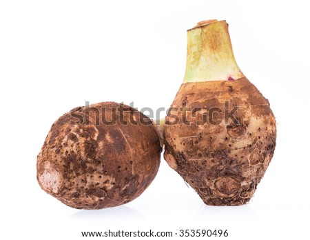 fresh taro isolated on white background - stock photo
