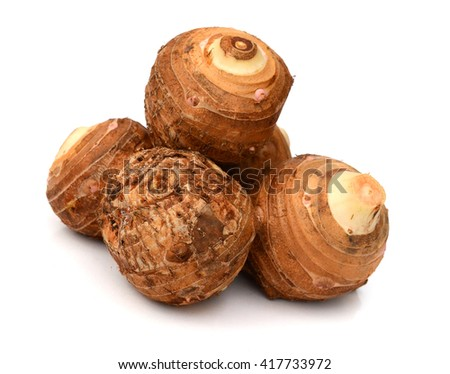 fresh taro root or Colocasia on a white background - stock photo