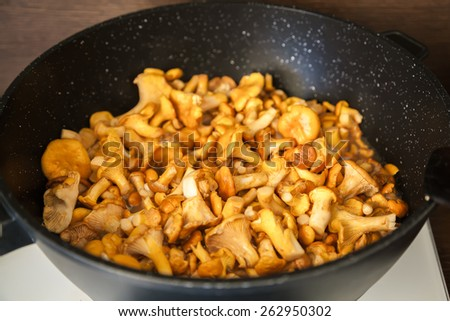 fresh tasty chantarelles in a frying pan - stock photo