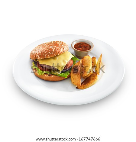 Fresh tasty hamburger with fried potatoes and salsa dip on a round plate isolated on white - stock photo