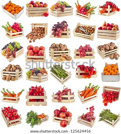 Fresh tasty healthy fruits, vegetables, berries, nuts in wooden box , collection set , isolated on a white background - stock photo