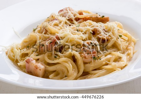 fresh tasty italian spaghetti carbonara closeup with ham