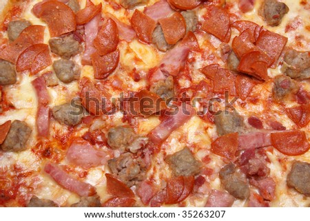 fresh tastyi pizza in closeup, to serve as background
