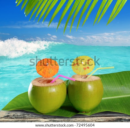 fresh tender green coconuts straw cocktails on tropical caribbean beach [Photo Illustration] - stock photo